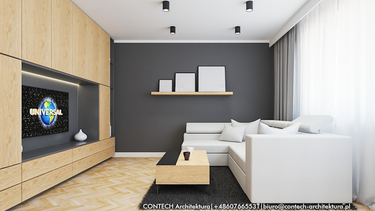 Zabudowa meblowa w salonie Nowoczesny salon od CONTECH Architektura Nowoczesny Drewno O efekcie drewna