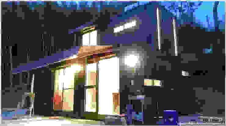 貨櫃屋夜間外觀 現代房屋設計點子、靈感 & 圖片 根據 光合作用設計有限公司 現代風 金屬