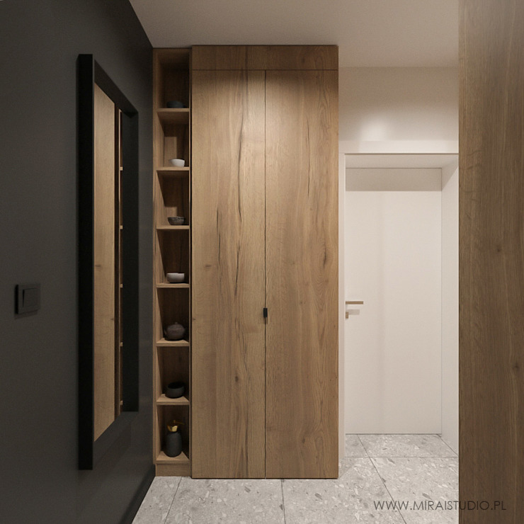 MIRAI STUDIO Modern corridor, hallway & stairs