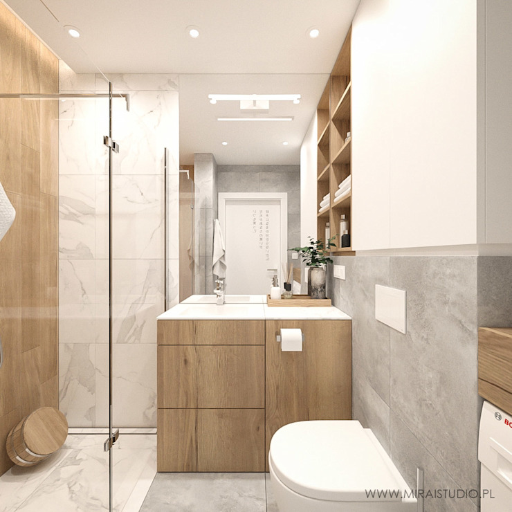 MIRAI STUDIO Modern style bathrooms Wood Wood effect