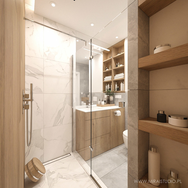 MIRAI STUDIO Modern style bathrooms Marble White
