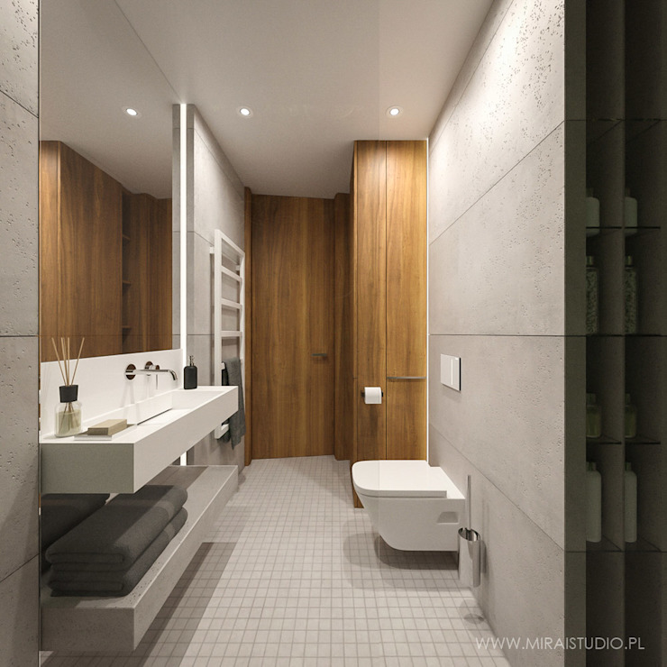 MIRAI STUDIO Salle de bain moderne Béton Gris