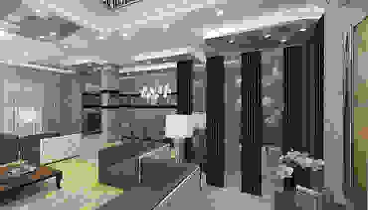 كيف تم عمل تصميم للتغلب على مشكله العمود و توظيف المساحه بشكل مناسب من Authentic for interior designs