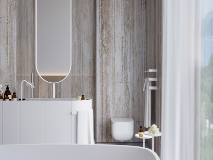 Suiten7 Scandinavian style bathroom Ceramic Beige