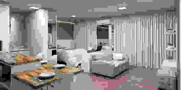 Acesso principal ao studio: Corredores e halls de entrada  por Projeto 3D Online,Moderno Madeira Efeito de madeira