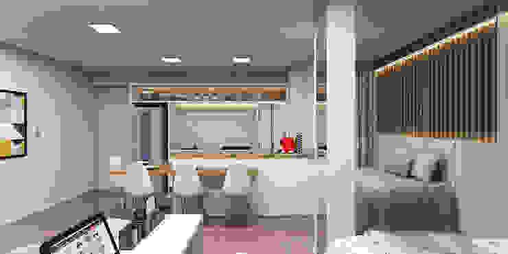 Cozinha: Quartos pequenos   por Projeto 3D Online,Moderno Madeira Efeito de madeira