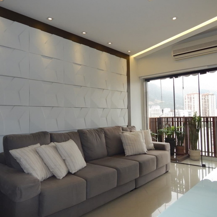Sofá confortável Izabella Biancardine Interiores Salas de estar modernas