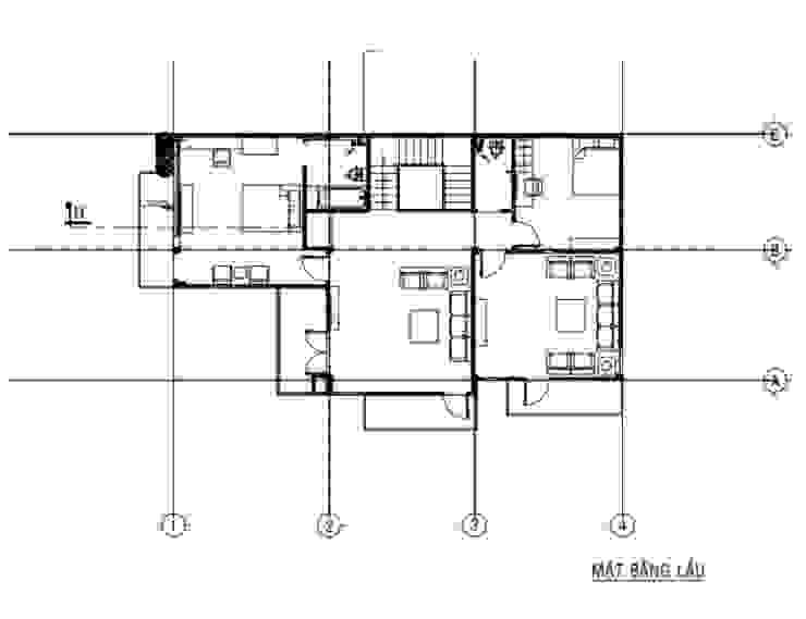 Mặt bằng tầng 2 biệt thự bởi Công ty TNHH Thiết Kế Xây Dựng Song Gia Phát Hiện đại