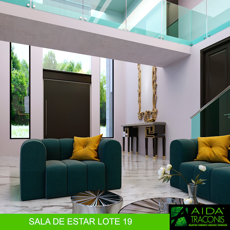 SALA DE ESTAR LOTE 19 Salas de estilo moderno de AIDA TRACONIS ARQUITECTOS EN MERIDA YUCATAN MEXICO Moderno