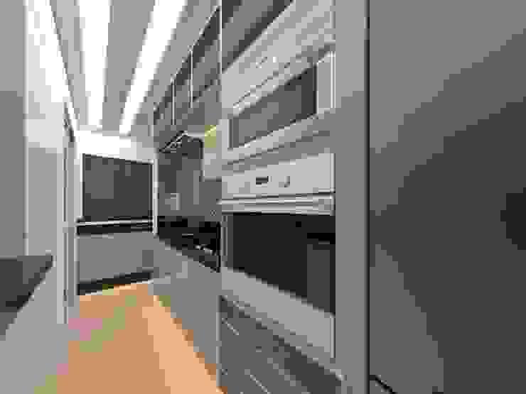 CaPra Arquitetura e Interiores ครัวบิลท์อิน แผ่น MDF Beige