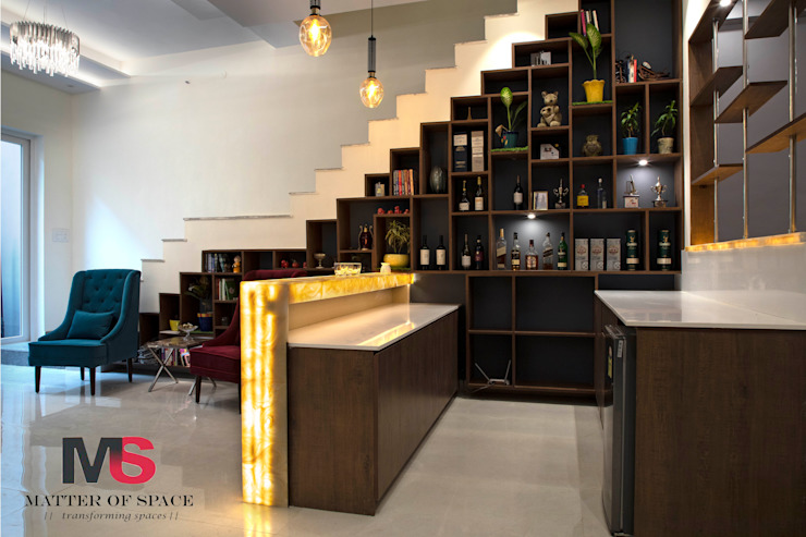 BAR AREA UNDER STAIRCASE (LANDMARK AVENUE):  Stairs by Matter Of Space Pvt. Ltd.,Modern Plywood