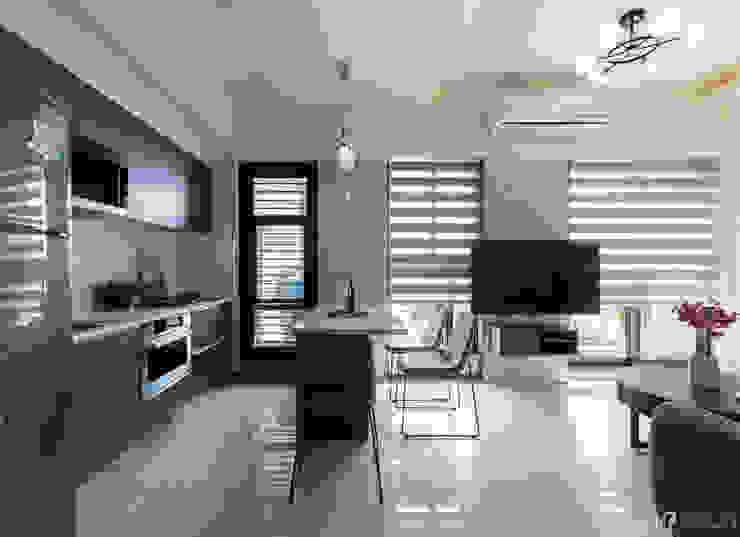廚房+中島 現代廚房設計點子、靈感&圖片 根據 元作空間設計 現代風
