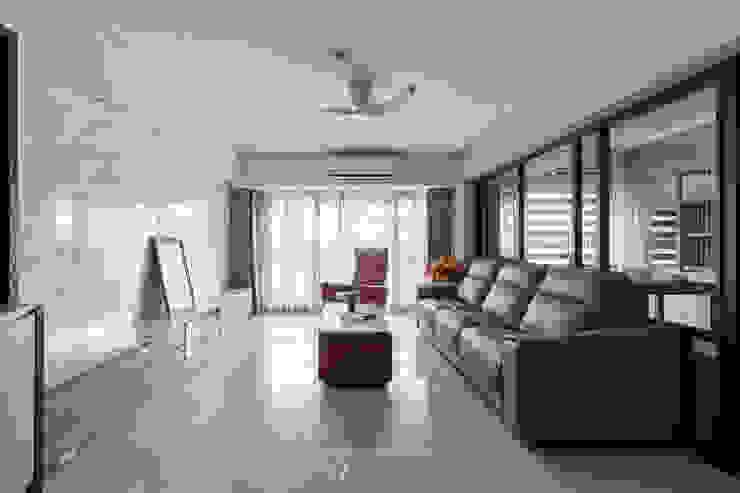 客廳開放空間 现代客厅設計點子、靈感 & 圖片 根據 元作空間設計 現代風