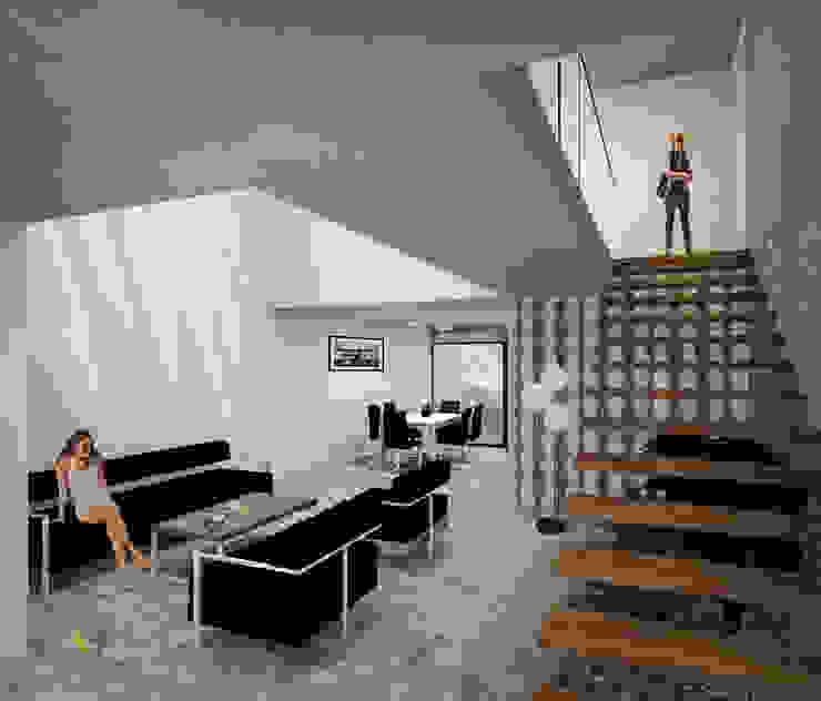 Escalera volada de Helicoide Estudio de Arquitectura Moderno Madera Acabado en madera