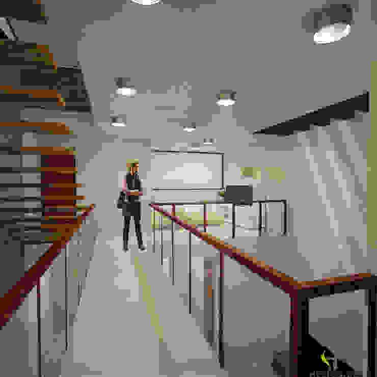 Puente Pasillos, vestíbulos y escaleras modernos de Helicoide Estudio de Arquitectura Moderno
