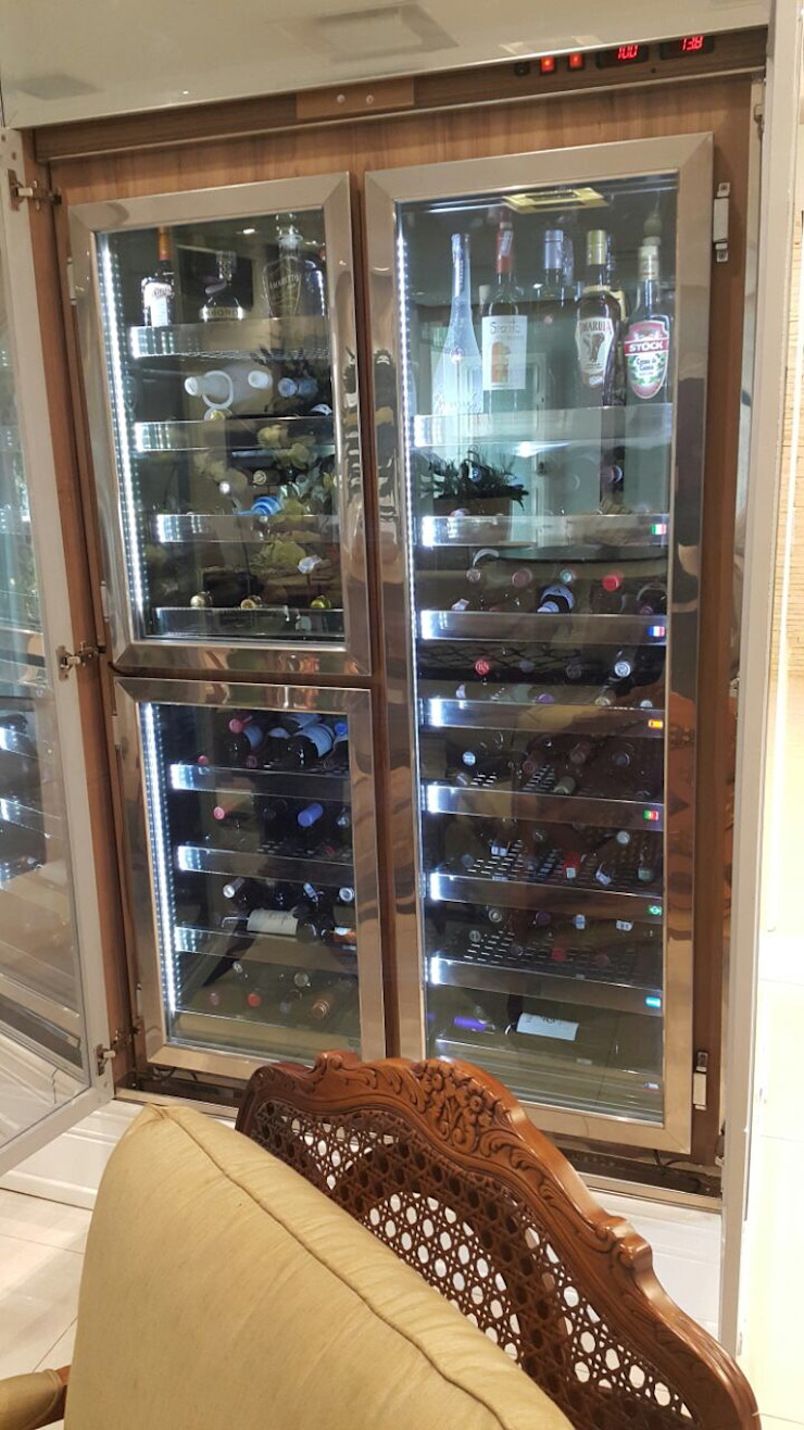 Gibeli Refrigeração ที่เก็บไวน์ กระจกและแก้ว Wood effect