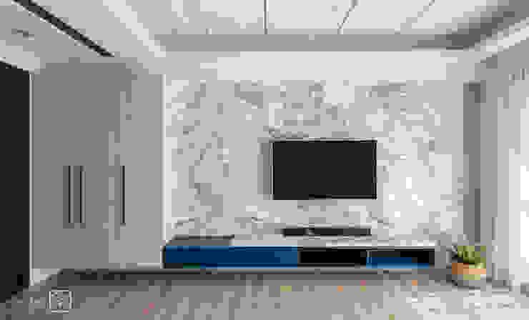 電視牆 禾廊室內設計 现代客厅設計點子、靈感 & 圖片