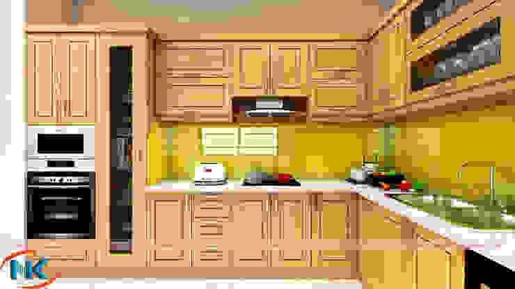 Mẫu tủ bếp gỗ sồi nga hiện đại đẹp nao lòng hội chị em đầu năm 2019 bởi Nội thất Nguyễn Kim