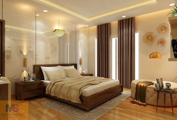 MASTER BEDROOM:  Small bedroom by Matter Of Space Pvt. Ltd.,
