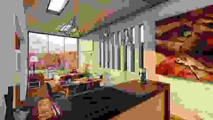 Cocina, comedor y sala integrada Salas modernas de DOGMA Architecture Moderno Concreto