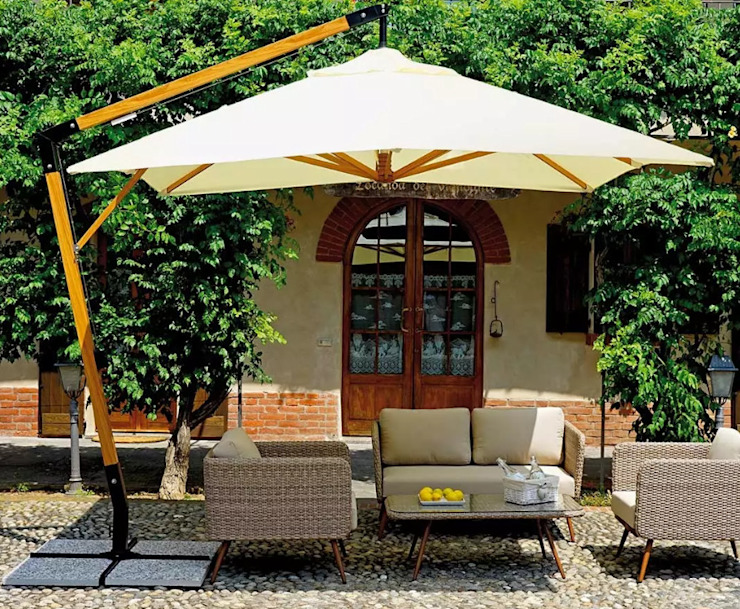Ombrellone Palo Laterale da Giardino in Alluminio 3X3m con Manovella Vorghini ConTract Legno e Ecrù GiordanoShop GiardinoGazebi & Serre Legno Bianco