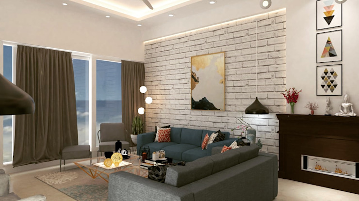 Maayish Architects Eclectic style living room Bricks White