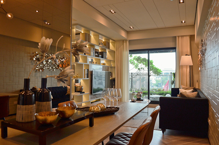 高雄 | 實品屋 现代客厅設計點子、靈感 & 圖片 根據 采易室內裝修工程有限公司 現代風