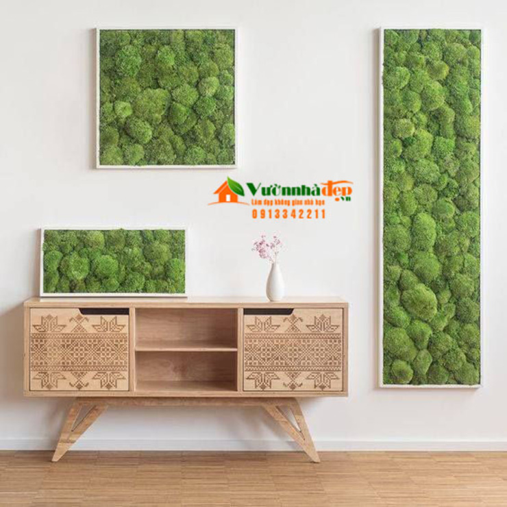 Thi công tường Rêu Nội Thất bởi Công Ty TNHH XD Cảnh Quan Vườn Nhà Đẹp Châu Á Đồng / Đồng / Đồng thau