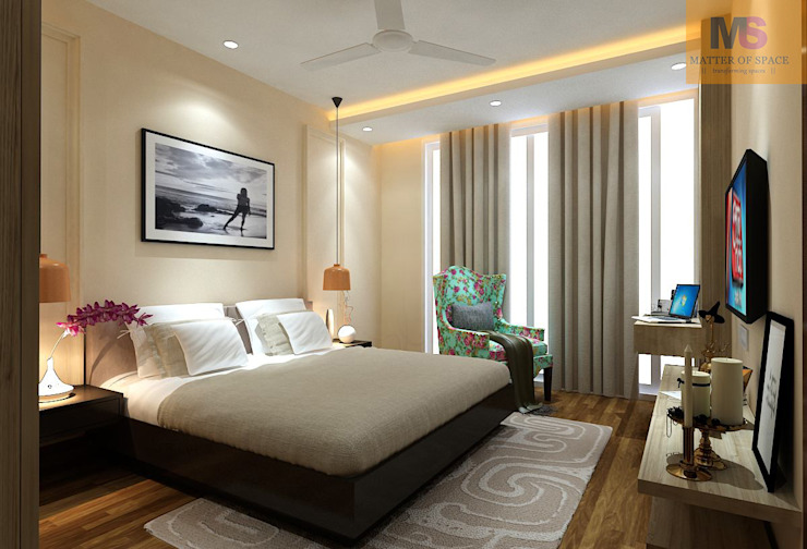 Master bedroom:  Bedroom by Matter Of Space Pvt. Ltd.,