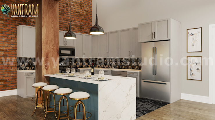 Modern kitchen 3d interior design ideas by architectural design studio, Toronto – Canada Yantram Architectural Design Studio Modern kitchen Brown