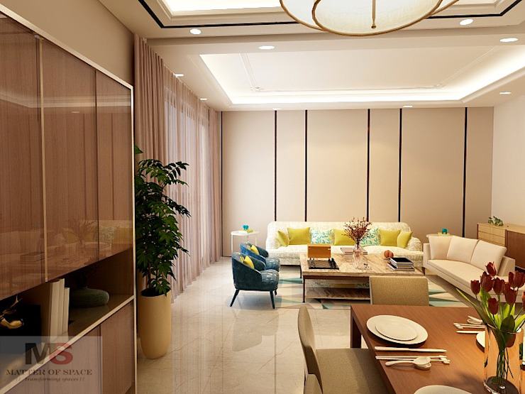 Living + dining area Modern Living Room by Matter Of Space Pvt. Ltd. Modern Plywood