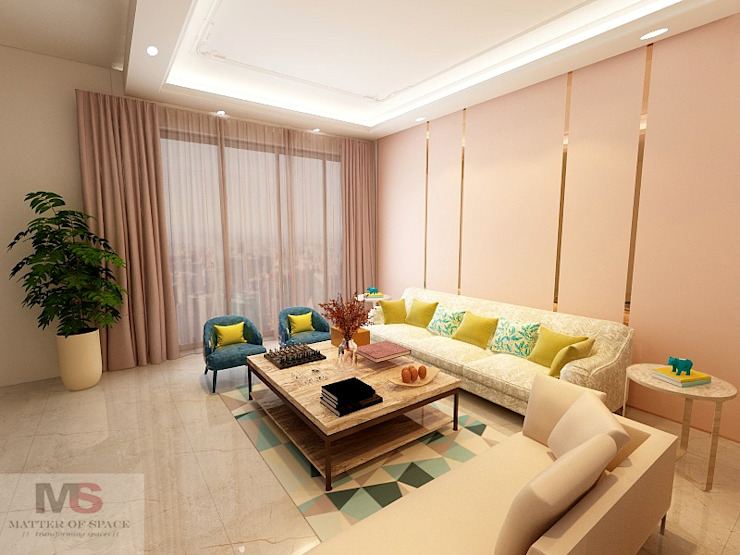 Living area + dining area Modern living room by Matter Of Space Pvt. Ltd. Modern Glass