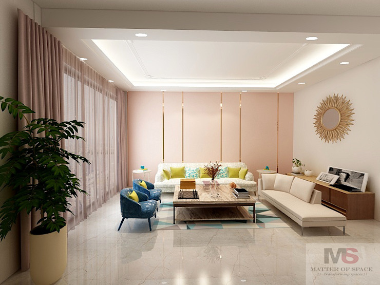 Living +dining area Modern living room by Matter Of Space Pvt. Ltd. Modern Glass