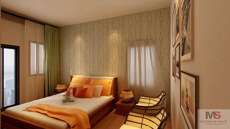 MASTER BEDROOM:  Small bedroom by Matter Of Space Pvt. Ltd.