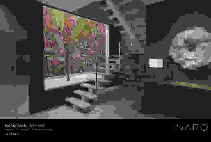 Hall y jardín vertical INARQ Espacio Escaleras Hierro/Acero Beige