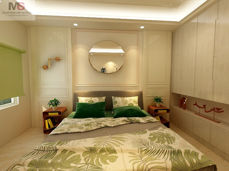 Guest room Matter Of Space Pvt. Ltd. Small bedroom Plywood Green
