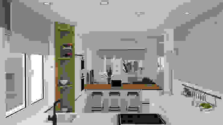 arQmonia estudio, Arquitectos de interior, Asturias Built-in kitchens MDF Wood effect
