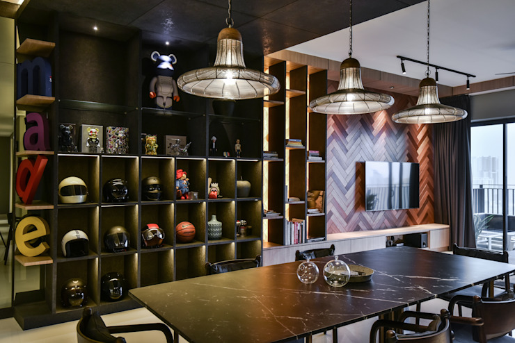 DINING DISPLAY LIVING DISPLAY HOO DESIGN RESOURCES Minimalist dining room Solid Wood Grey
