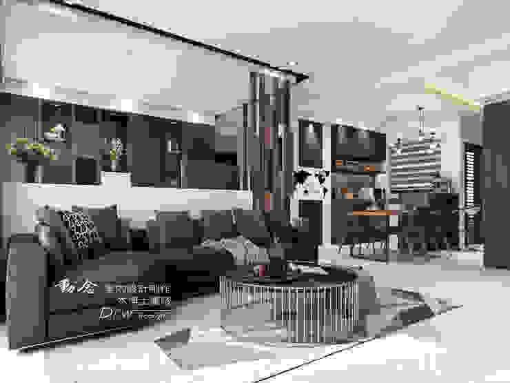 書房與客廳 现代客厅設計點子、靈感 & 圖片 根據 木博士團隊/動念室內設計制作 現代風