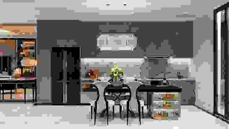 Thiết kế Biệt thự phong cách Đông Dương: KHI THIẾT KẾ LÀ LỜI TỰ SỰ Nhà bếp phong cách châu Á bởi ICON INTERIOR Châu Á