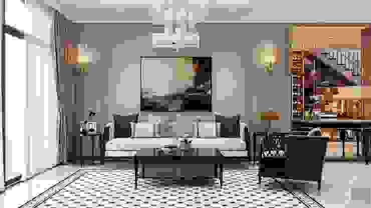 Thiết kế Biệt thự phong cách Đông Dương: KHI THIẾT KẾ LÀ LỜI TỰ SỰ Phòng khách phong cách châu Á bởi ICON INTERIOR Châu Á