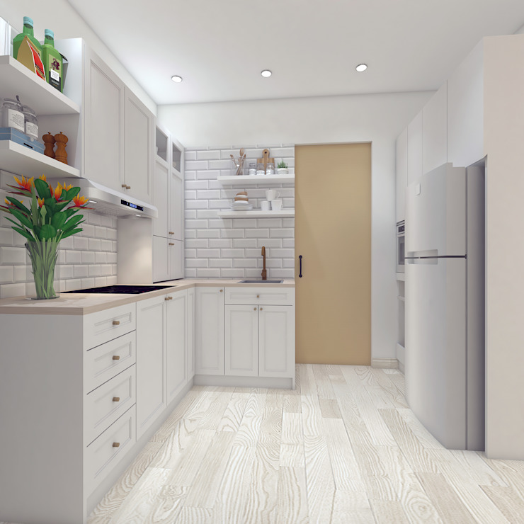 DSL Studio Small kitchens Wood Beige