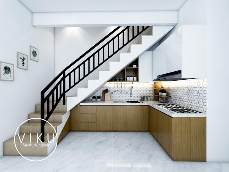 Cocinas de estilo minimalista de viku Minimalista Madera Acabado en madera