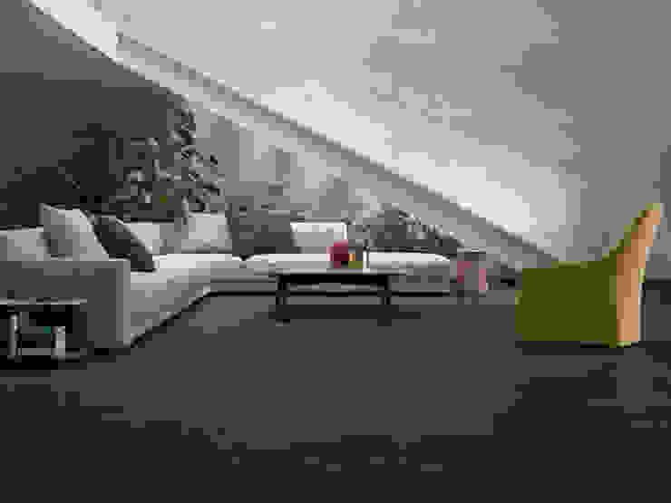 Sala con muro estilo cemento Paredes y pisos de estilo moderno de Interceramic MX Moderno Cerámico