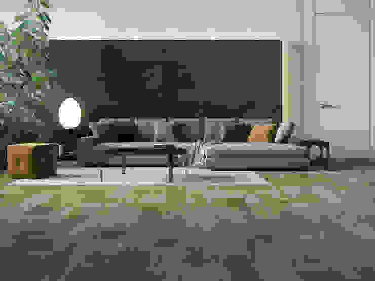 Sala con piso de madera cerámica Salas de estilo moderno de Interceramic MX Moderno Cerámico