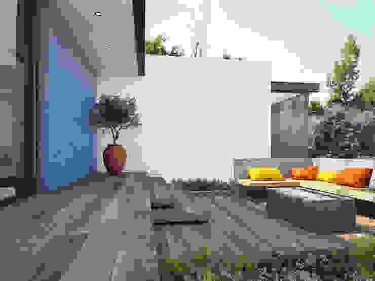 Exterior con piso de madera cerámica: Terrazas de estilo  por Interceramic MX,