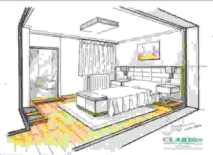 Boceto de habitación con tonos morados de Clarion - acotrazio d'interiors S.L.U Moderno