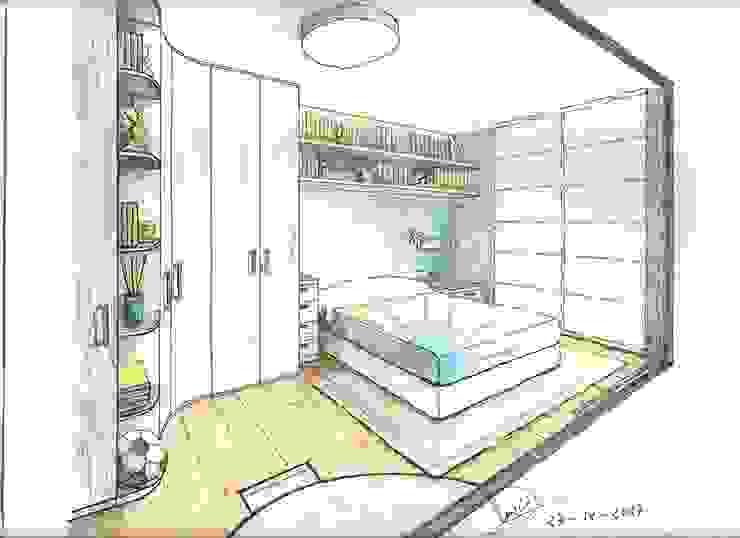 Boceto de habitación con detalles de espacio de Clarion - acotrazio d'interiors S.L.U Moderno