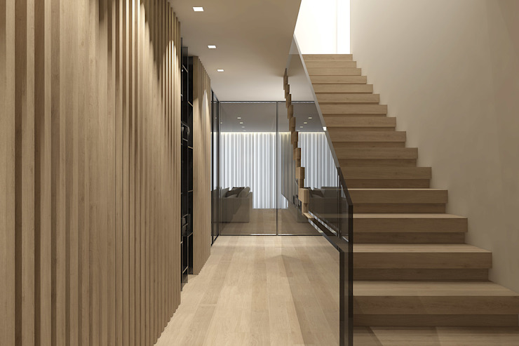 Hall de entrada 411 - Design e Arquitectura de Interiores Corredores, halls e escadas modernos
