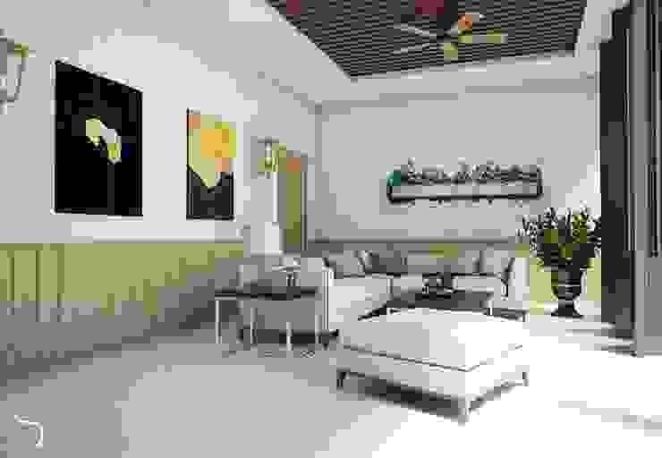 Teras lantai Bawah Balkon, Beranda & Teras Minimalis Oleh DSL Studio Minimalis Kayu Wood effect